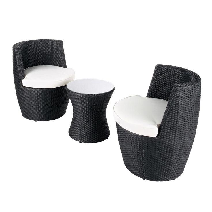 Runder Gartentisch + 2 schwarze Sessel ANTIBES. Gesehen bei Maisons du Monde, ca. 300 €