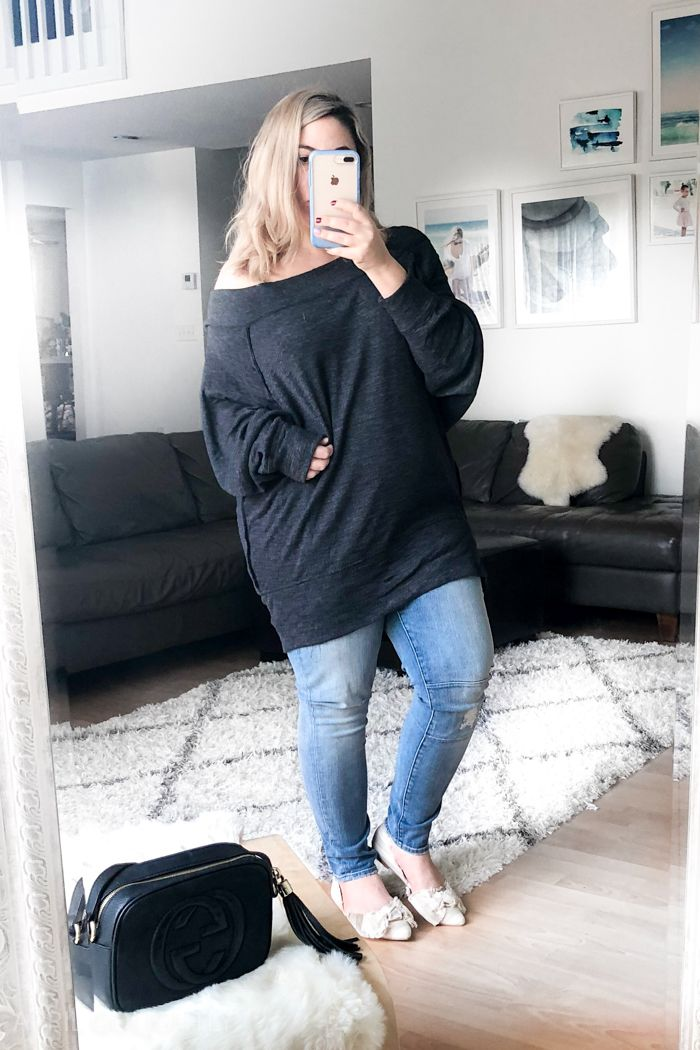 Winter Outfits for Women 2018 - with trunk club outfits that are casual with high waisted skinny jeans, sweaters, & off the shoulder top. #winteroutfit #winterfashion #fashion