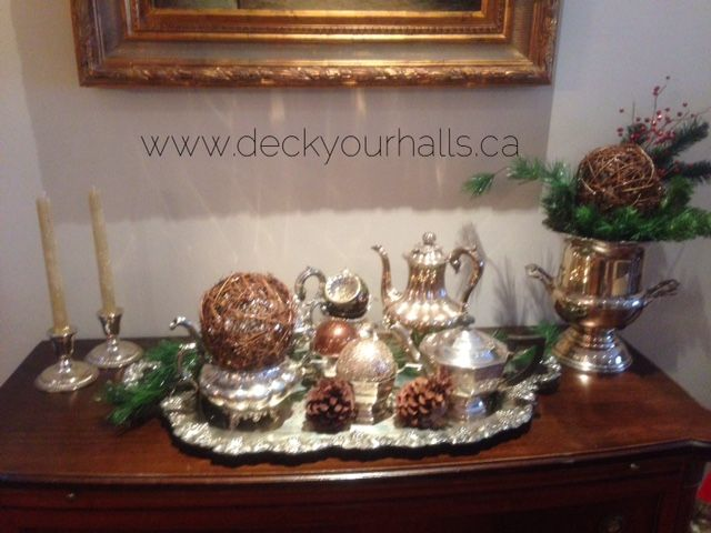 Tea service all decked out for Christmas.  Silver sparkle!