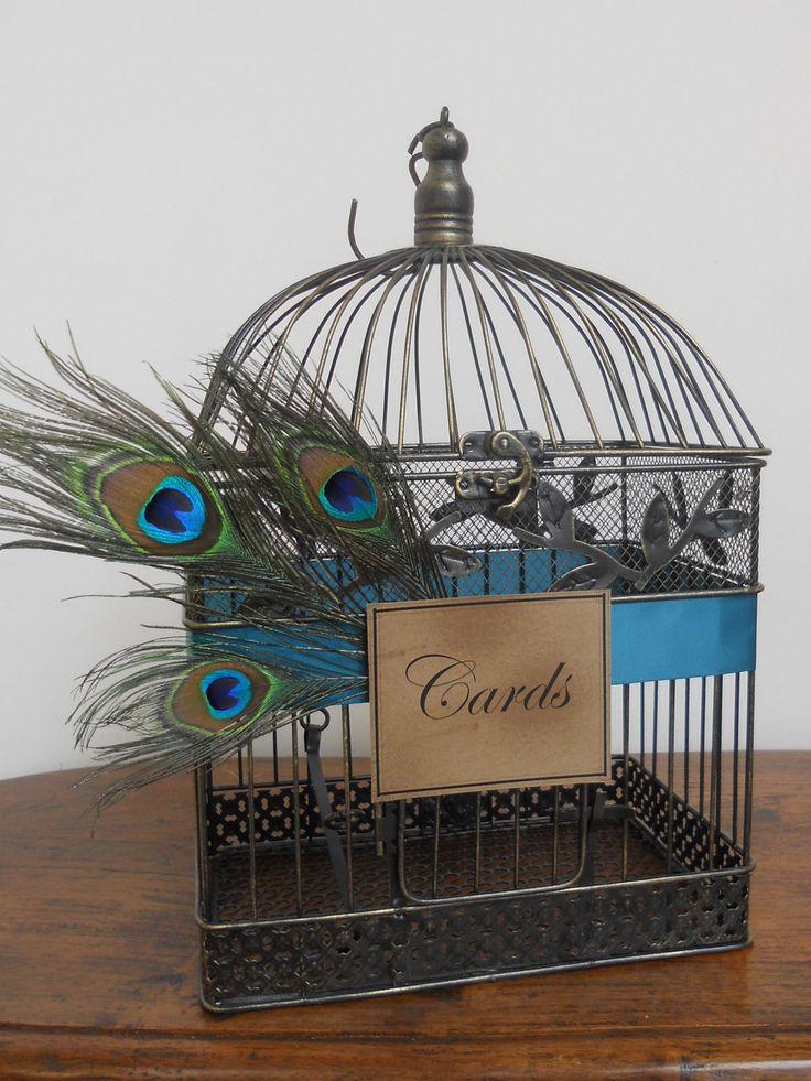 Wedding Card Box Peacock Birdcage Wedding Card Holder/ Wedding Bird Cage Decoration. $60.00, via Etsy.