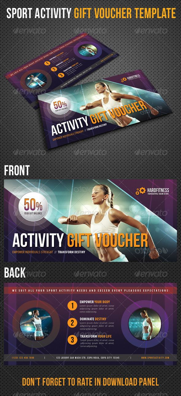 Sport Activity #Gift #Voucher V17 - #Cards & #Invites Print Templates Download here: https://graphicriver.net/item/sport-activity-gift-voucher-v17/8323066?ref=alena994