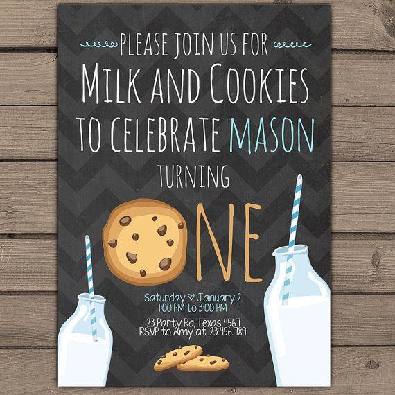 Milk and Cookies Invitation Blue Boy Birthday door Anietillustration
