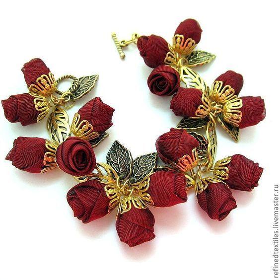 Купить Вечная любовь. Браслет. Цветы из ткани - бордовый, цветы из ткани, романтичное украшение: