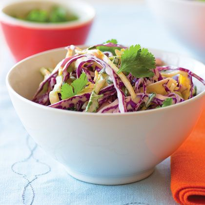 This may look like your grandma's coleslaw, but it sure doesn't taste like it. We loved the flavor of this slaw piled atop pulled-pork...