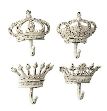 Amazon.com: Shabby Cottage Chic Crown Decorative Wall Hooks (Set of four): Home & Kitchen