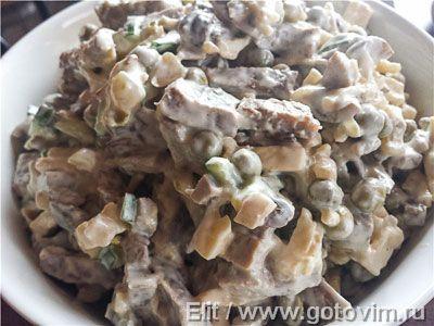Салат из языка с грибами…