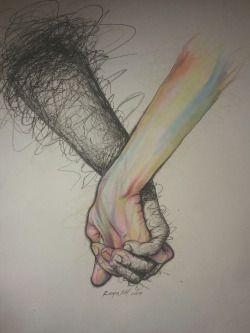 Mãos dadas. Rabisco e Cores. Confusão e Sinestesia. Desenho. Arte.