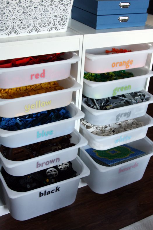 Organize the Legos Ideas!  Organize by color in a cute drawer system... Mini figures and manuals in boxes on top...
