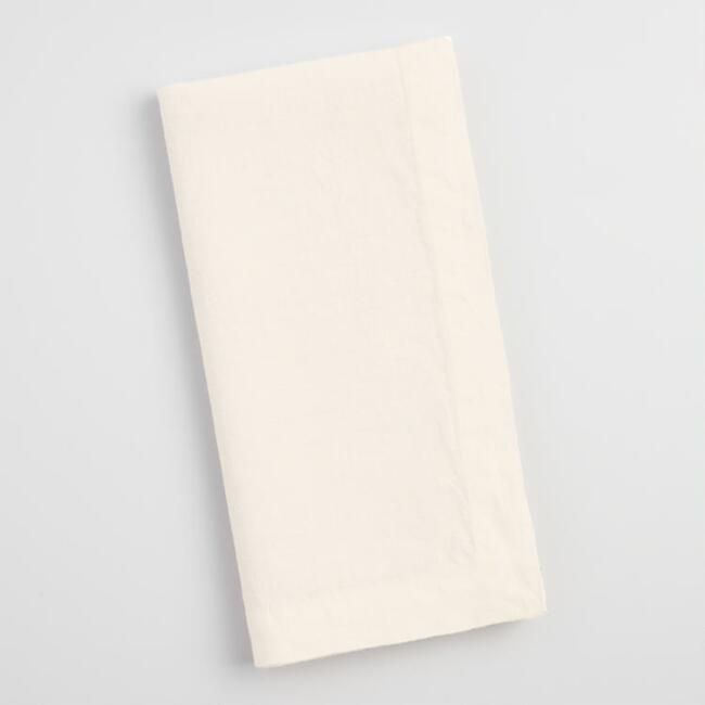 World Market Ivory 100% Linen Napkins Set of 4