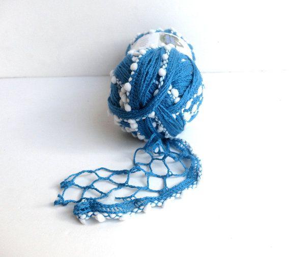 blue ruffle scarf yarn / lace trim scarf yarn / by yarnsupplies, $8.00