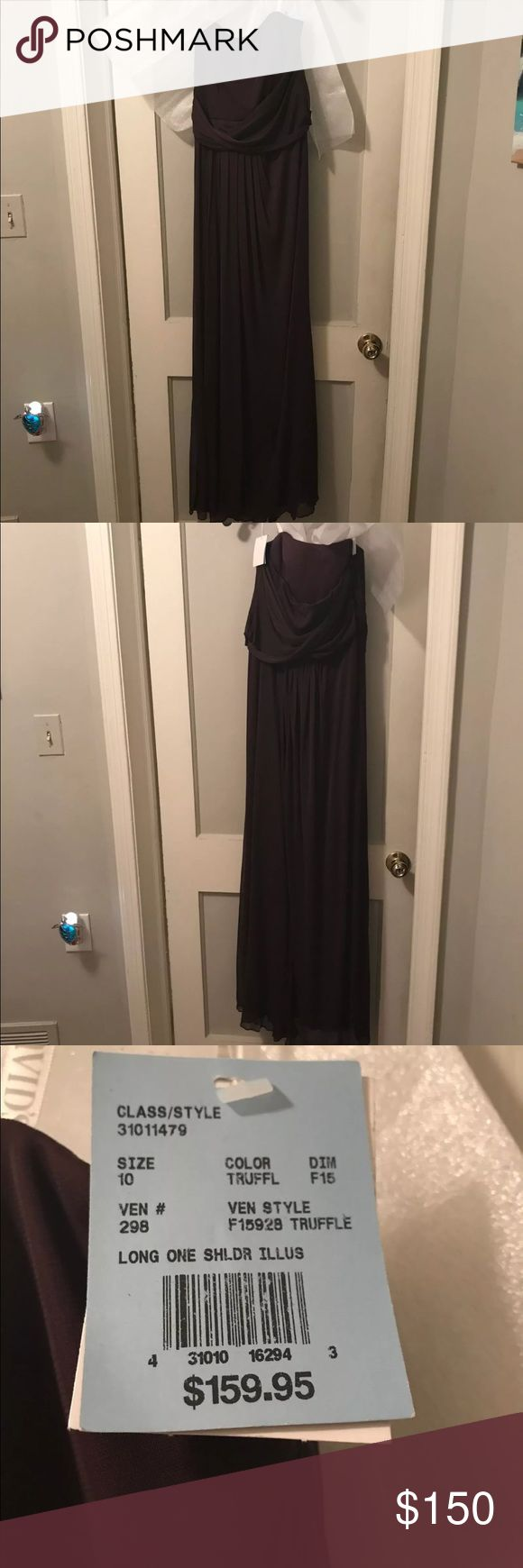SALE !!!! LAST PRICE DROP .....Bridesmaid dress Bridesmaid dress from David's bridal never worn or altered it still has the tags . Size 10 . The first picture is the front of the dress and the second is the back of the dress. The last picture is a manufacturer picture of the dress. The color is truffle. From a dog friendly home . Please ask if you have anymore questions davids bridal Dresses