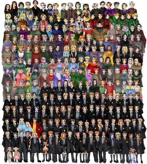From bottom to top, left to right:    Row 1: Zacharias Smith, Pansy Parkinson, Kreacher, Winky Seamus Finnegan, Dean Thomas, Luna Lovegood, Hermione Granger, Crookshanks, Ronald Weasley, Harry Potter, Ginny Weasley, Draco Malfoy, Lavender Brown, Angelina Johnson, George Weasley, Fred Weasley, Lee Jordan, Cho Chang, Marietta Edgecomb, Neville Longbottom, Trevor, Dobby, Padma Patil, Parvati Patil.    Row 2: Vincent Crabbe, Gregory Goyle, Fleur Delacour, Gabrielle Delacour, Viktor Krum, Blaise…