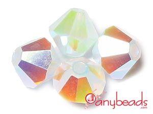 White Opal AB2X - Swarovski Crystal Elements 5301/5328 Bicones 4mm  #whiteopal #Swarovski #crystalbead #5328 #5301 #bicone #anybeads