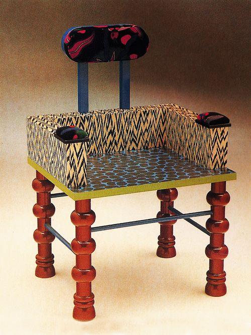 "Nathalie Du Pasquier's, 'Esmerelda Chair', made for Pierluigi Ghiandi (the legendary furniture maker known as the ""poet of wood""), 1985."