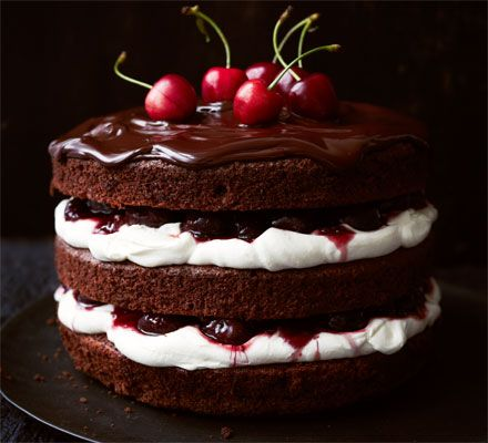 Black Forest gâteau from BBC Good Food Impress your guests with this chocolate cherry layered cream cake - a revamped version of a retro classic.