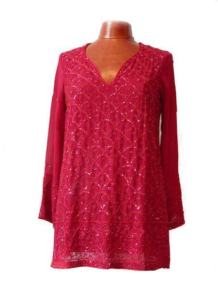 Pink Silk Kurti Top
