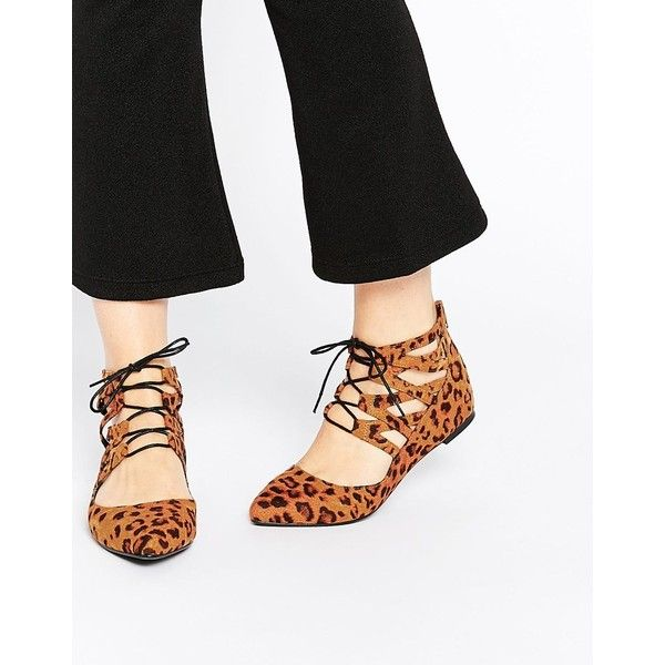 ASOS LEVEL UP Lace Up Ballet Flats found on Polyvore featuring polyvore, women's fashion, shoes, flats, leopard, leopard flat shoes, ballet flat shoes, pointed-toe leopard flats, leopard print ballet flats and lace up ballet flats