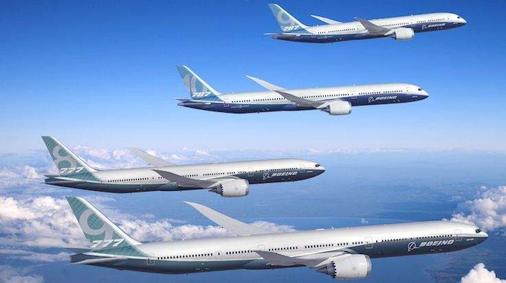 A supplied image of Boeing's 777-8, 777-9, 787-9 and 787-10. (Boeing)