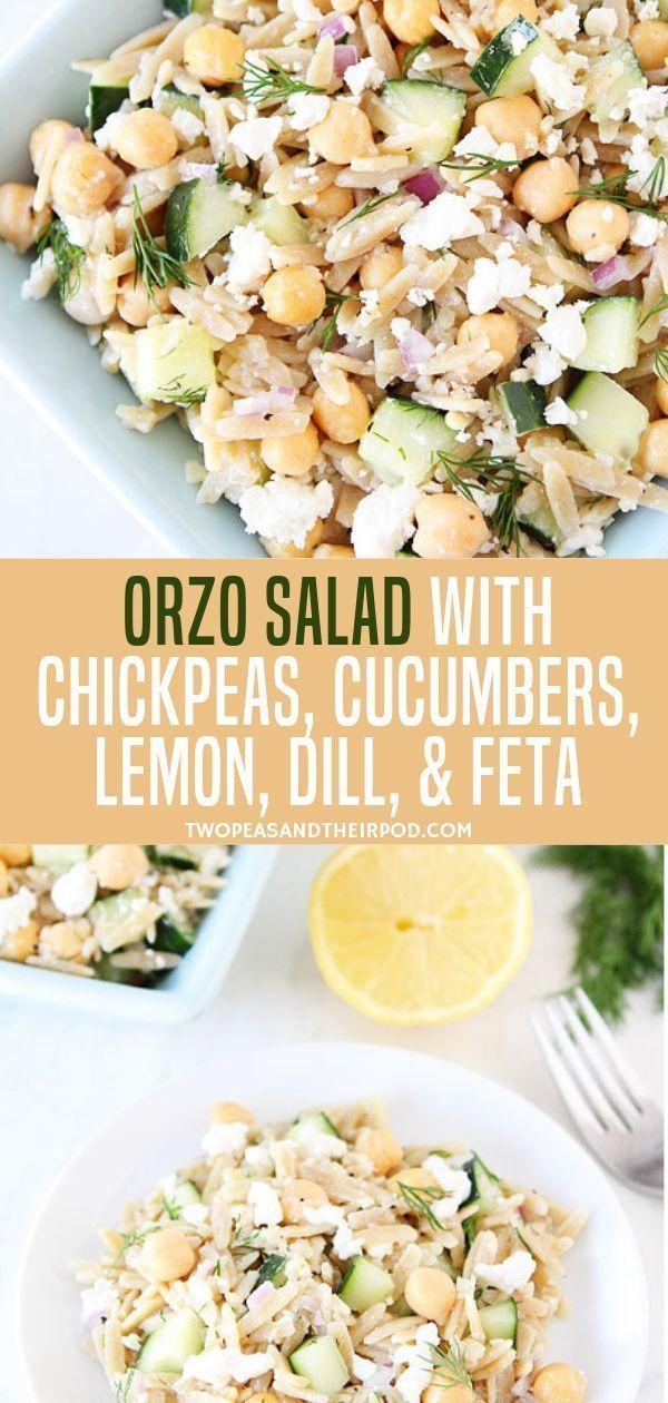 Ein köstlicher und leichter Orzo-Salat mit Kichererbsen, Gurken, Zitrone, Dill und Feta …