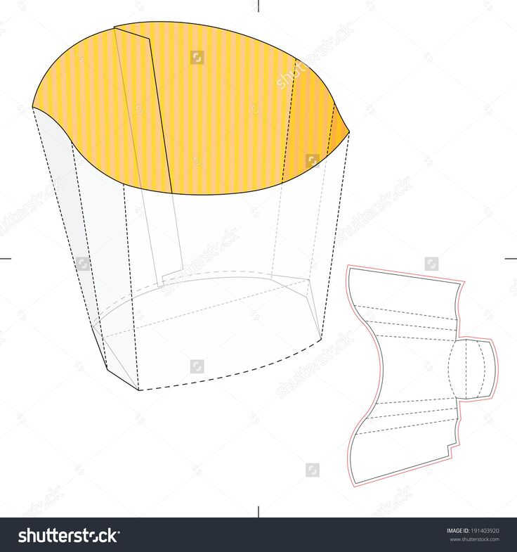 French Fries Disposable Paper Box With Die Cut Layout Stock Vector Illustration 191403920 : Shutterstock