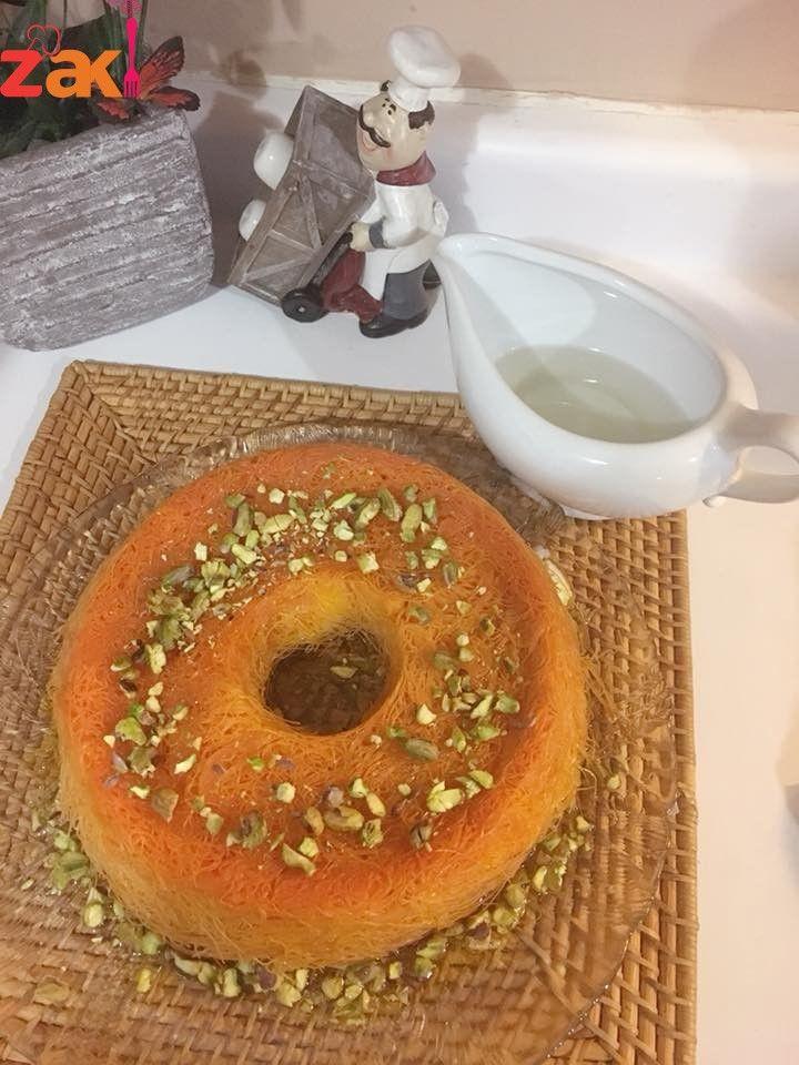 طريقة عمل الكنافة بالقشطة خطوة بخطوة مع الصور زاكي Arabic Food Arabic Sweets Middle Eastern Recipes