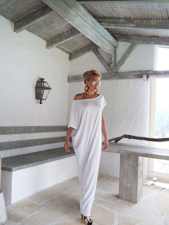 White Maxi Dress / White Kaftan / Asymmetric Plus Size Dress / Oversize Loose Dress / #35022 This elegant, sophisticated, loose and comfortable maxi dress, looks as stunning with a pair of heels as it does with flats. You can wear it for a special occasion or it can be your everyday comfortable dress. >>> SEE COLOR CHART HERE : https://www.etsy.com/listing/235259897/viscose-color-chart?ref=shop_home_active_4 - Handmade item - Mate...