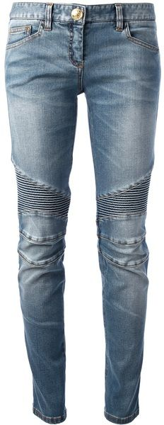 make pants longer by adding a piece of fabric near the thighs - Balmain Blue Skinny Leg Jeans