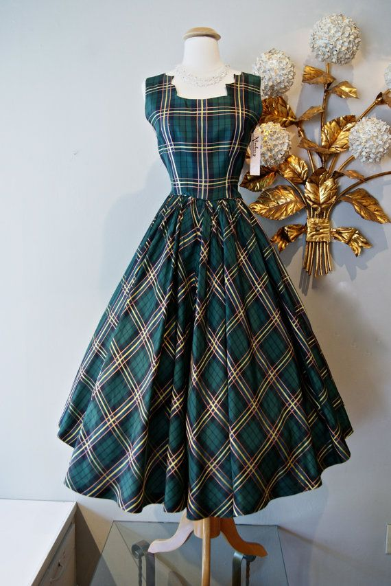 Vintage 50s Dress / 1950's Green Plaid Taffeta by xtabayvintage, $198.00