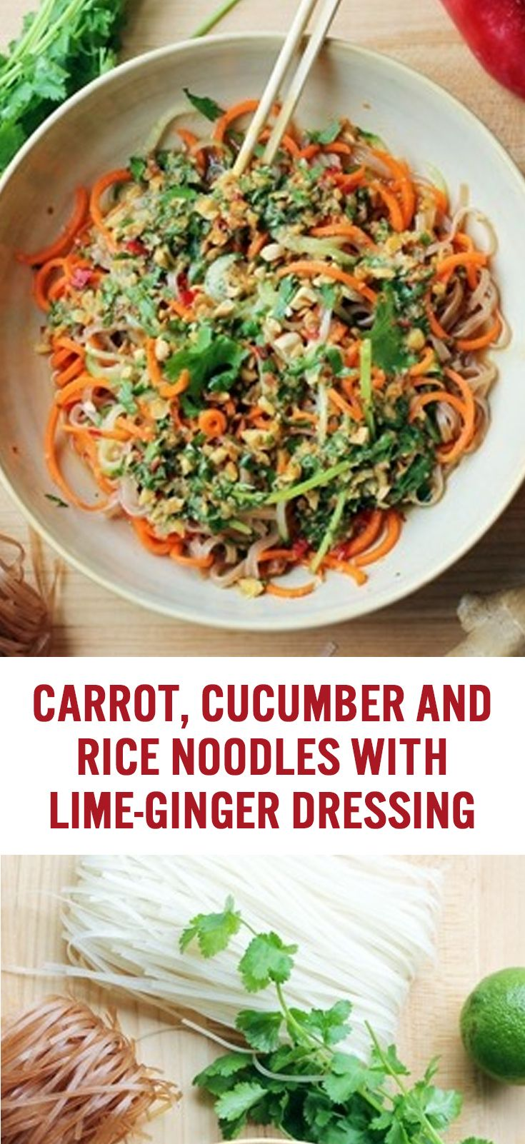 Bobby Flay's Carrot, Cucumber and Rice Noodles with Lime Ginger Dressing Recipe | Asian Cooking