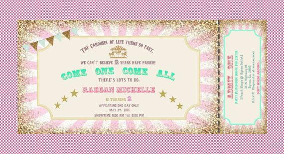 Carousel carnival ticket style birthday Invitation. Mint, green, pink, gold, bunting.  Printable, DIY. Birthday, bridal shower, baby shower. on Etsy, $12.00
