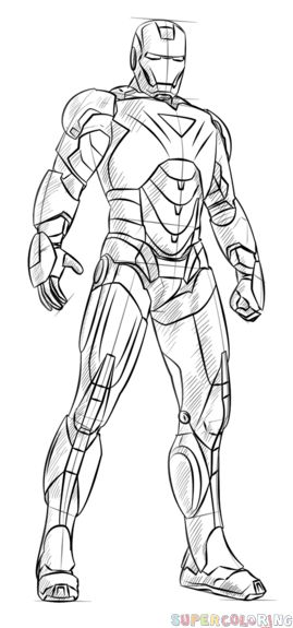 How to draw iron man step by step drawing tutorials for for Disegni da colorare iron man