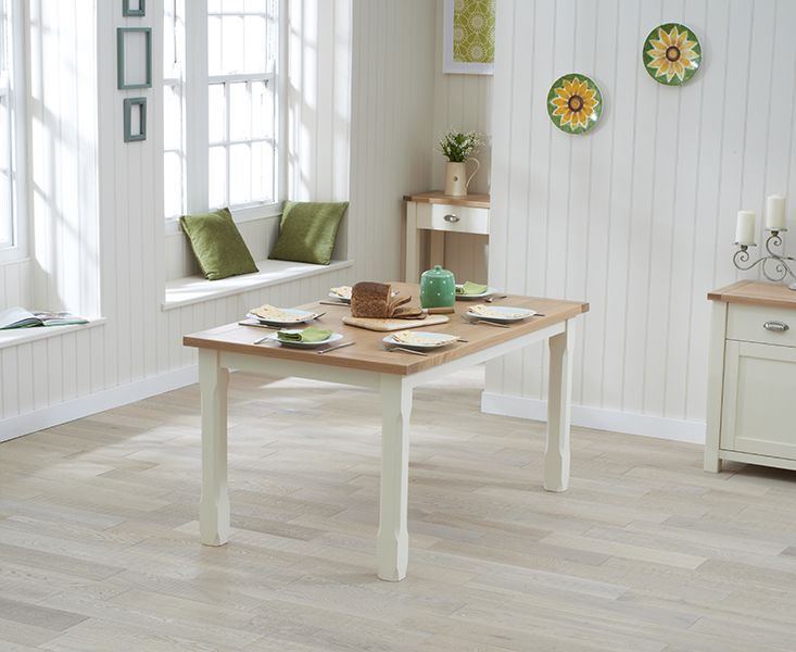 Buy the Somerset 130cm Oak and Cream Dining Table at Oak Furniture Superstore