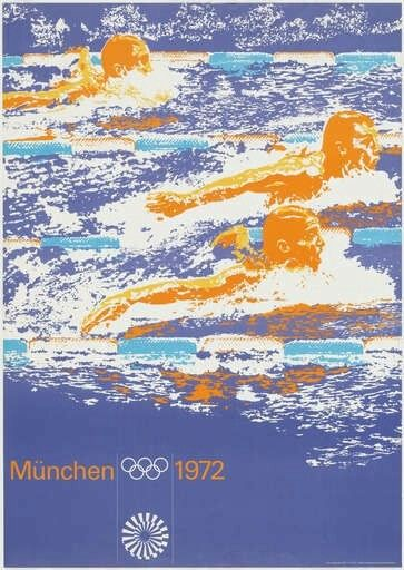 """München 1972"", Olympics Poster, (1972), Lithograph, Size:46 3/4 x 33 1/16"" (118.8 x 84 cm.), Printer by 'Franzis Druck', Münich, (Germany) - Original Graphic Design by Otl [Otto] Aicher (b. 1922 - d. 1991)."
