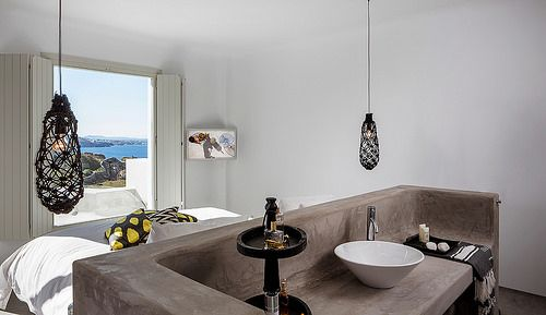 Bohemian Sea View Suite view of the Aegean sea as seen from inside the Suite. You can read more information at www.bohememykonos.com/bohemian-sea-view-suite-mykonos.