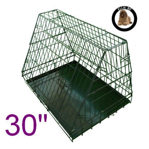 From 22.05 Ellie-bo Sloping Puppy Cage Folding Dog Crate With Non-chew Metal Tray With Slanted Front For Car Medium 30-inch Black