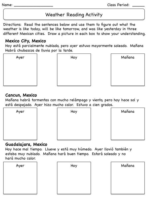 Activities For Teaching Weather In Spanish Throw Away