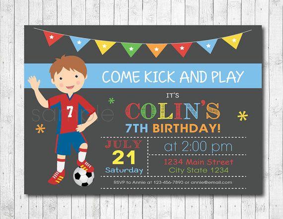 Soccer Birthday Party Invitation Soccer Invite by funkymushrooms