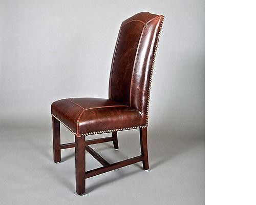 Monroe Deep Brown Leather Nail Head Birch Wooden Legs Dining Chairs (Set of 2)