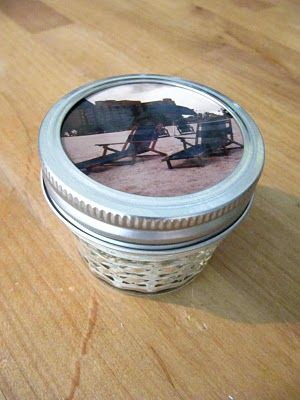 Isn't it the cutest little memory jar you've ever seen. You can always print a little hang tag with all the info from your event, vacation, birthday, special memory etc and then tie it on with a ribbon....this one sand and shells and pic of beach 25 years ago...anniversary sweet gift