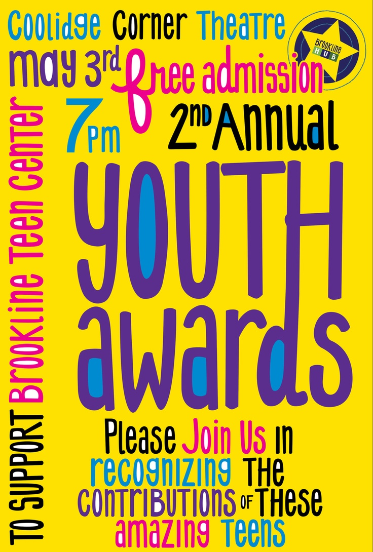 Poster design for youth - Original Mallia Design Brookline Youth Awards Poster Hand Drawn Typography