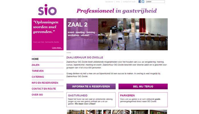 SIO Zwolle Zaalverhuur van diverse zalen geschikt voor groepen van 4 tot circa 400 personen. Uitstekende mogelijkheden voor het houden van o.a. uw vergadering, training, cursus, bijeenkomst, meeting en event. Website | CMS Joomla! + zoekmachine optimalisatie | Ontwerp door inxpact | www.siozwolle.nl