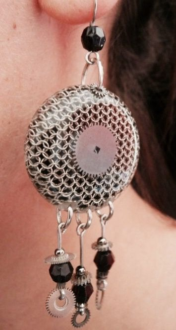 Silver chainmail and resin earrings
