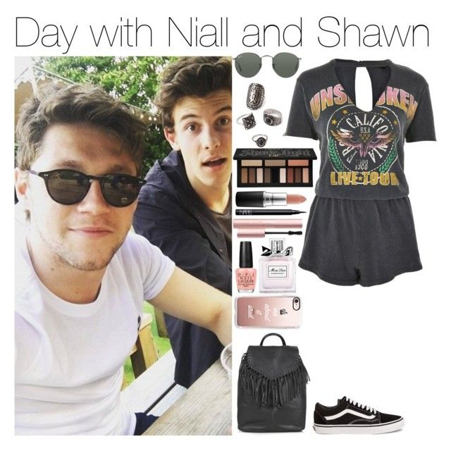 """""""Day with Niall and Shawn"""" by xhoneymoonavenuex ❤ liked on Polyvore featuring Topshop, Vans, Casetify, Forever 21, Ray-Ban, Kat Von D, MAC Cosmetics, NARS Cosmetics, OPI and Christian Dior"""