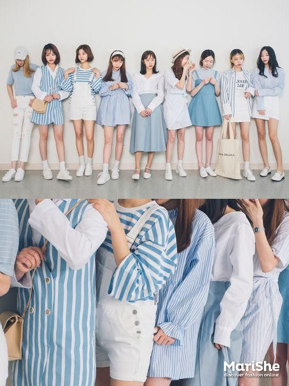 korean fashion blue white similar look twin white casual