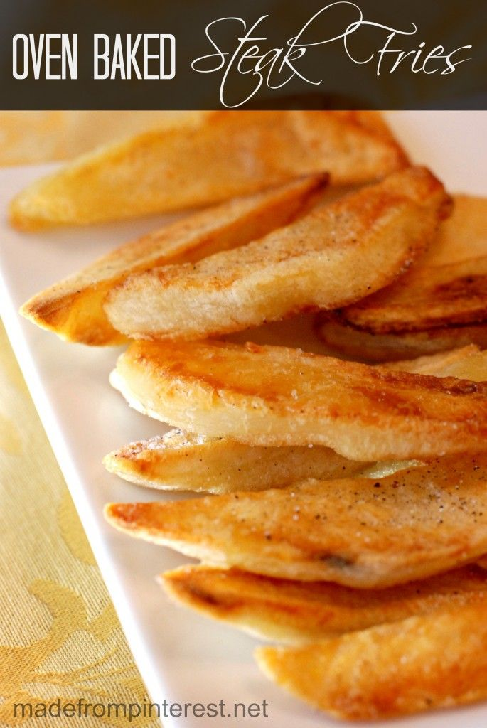 Soak your potatoes in water before baking them when making oven baked fries.  It helps keep the potatoes moist and you end up with perfect fries