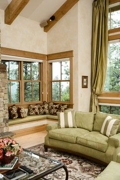 Window Seat / Rustic Elegance - Log Siding & Timber Home ...