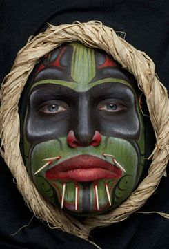 I have a pin on this board of a native man in his tribes facepaint which is an interesting comparison to this professionally done face