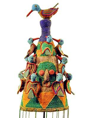 Yoruba Beaded Crown 9, Nigeria.  (I got intrigued by the birds on top of many Yoruba crowns. You can read more about them here: en.wikipedia.org/...)