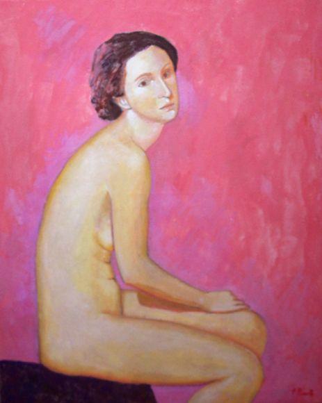 Mujer con fondo rosa