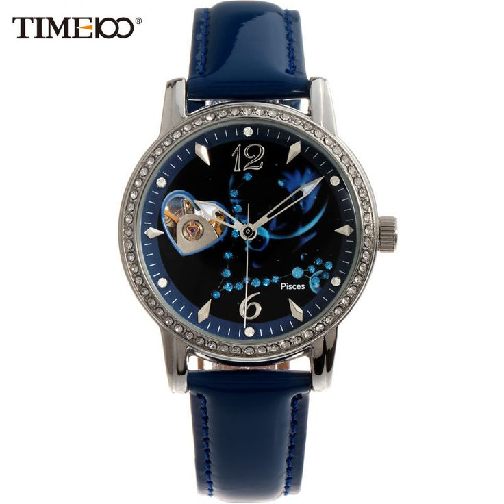 Constellation Pisces Women Automatic Self-wind Mechanical Watch Leather Strap